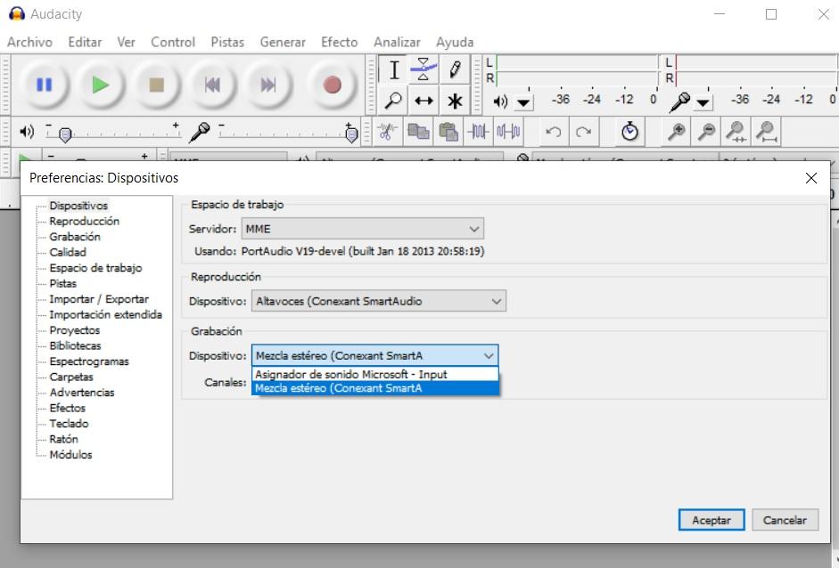 Grabar sonido de nuestro ordenador con Audacity 4